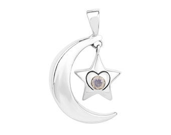 Star & Moon silver pendant with a Moonstone
