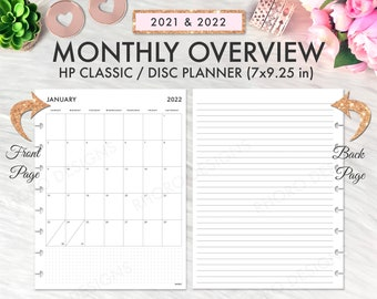 Classic Happy Planner 2021 2022 Monthly, Monthly Overview Grid, Happy Planner Printable Inserts, Happy Planner Month On One Page 2022 MO1P