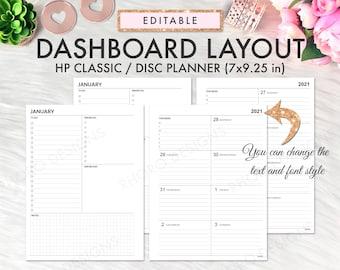 EDITABLE Happy Planner Dashboard Printable, Happy Planner Dashboard Layout, Classic Happy Planner Printable, Homebody Weekly Happy Planner