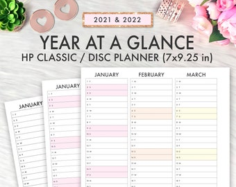 Happy Planner Printable, 2021 2022 Year At A Glance, Classic Happy Planner Inserts, Happy Planner Printable Inserts 2022 Calendar Dated