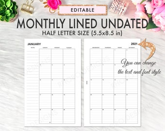 EDITABLE Half Page Calendar 2021, Half Page Planner Inserts, Monthly Lined Undated, Half Letter Printable Inserts, Half Page Printable PDF
