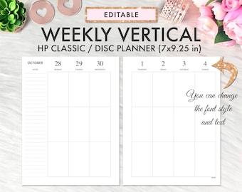 EDITABLE Classic Happy Planner Inserts, Happy Planner Inserts Printable, Weekly Vertical, Happy Planner Printable Inserts, Weekly Planner