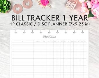 Happy Planner Bill Tracker Printable Insert, Financial Planner for Discbound Planner, Bill Log Happy Planner Classic Refill Printable Insert