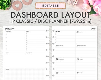 EDITABLE Dashboard Layout CLASSIC Happy Planner Printable Insert, Dashboard Layout Weekly Undated Happy Planner Refill Printable Inserts