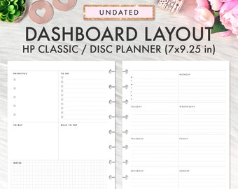Dashboard Layout CLASSIC HAPPY PLANNER Printable Insert, Dashboard Layout Weekly Undated Happy Planner Refill Printable Inserts Planner 2021