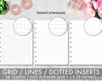 Classic Happy Planner Inserts, Happy Planner Inserts Printable, Grid, Lines, Dotted Grid Set, Mambi Classic, Happy Planner Printable Inserts
