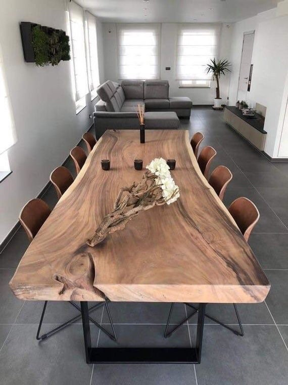 Live Edge Dining Table Reclaimed Single, Live Edge Dining Room Table