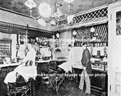 Old Antique Vintage Barber Shop Hair Cut Hot Razor Shave Cash Register Photo Picture Wall Art Decoration