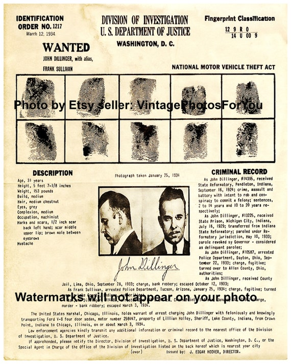 John Dillinger Wanted Poster Gangster Outlaw Bank Robber