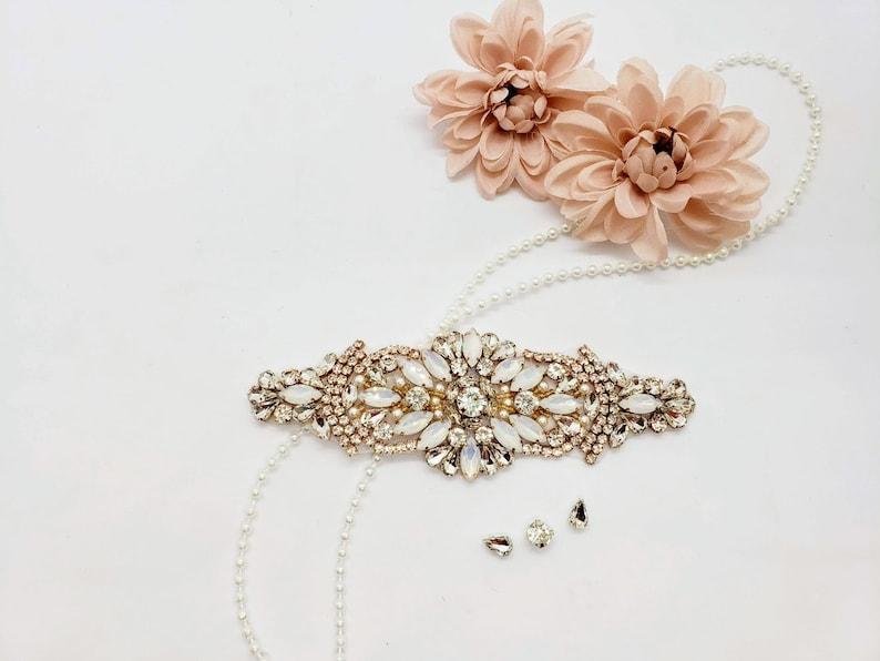 Opal Rose Gold Wedding Applique; Copper Wedding Applique; Rose Gold Rhinestone; Moonstone Applique; Rose Gold Wedding Belt Applique; 1042