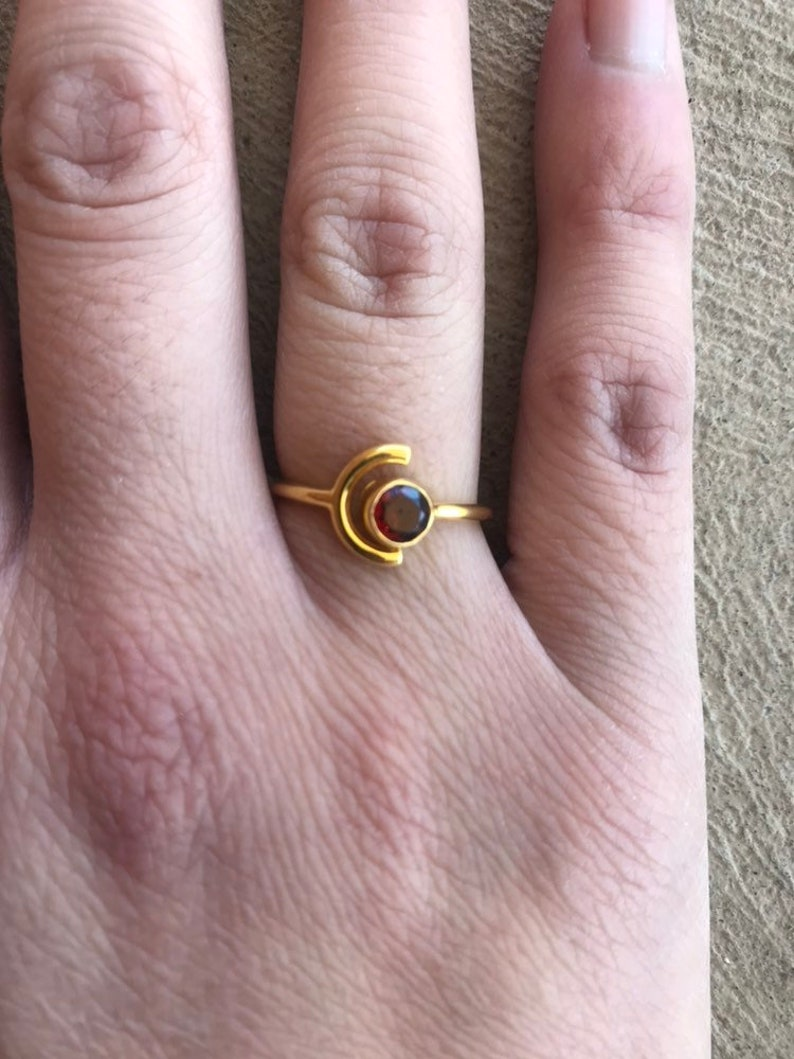Half Moon Rose Gold Ring Minimalist Ring Sale January Birthstone Ring Garnet Ring Round Garnet Ring Open Ring Moon and Gemstone Ring