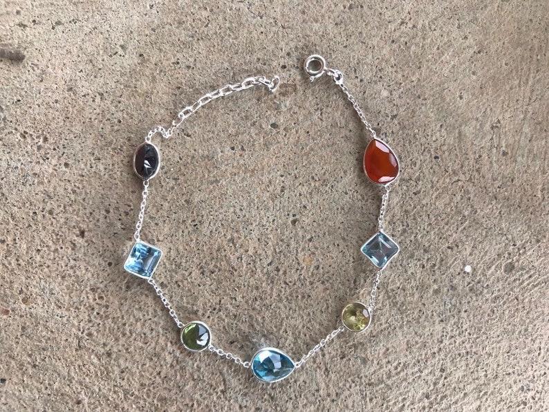Fine Jewelry Elegant Bracelet Topaz Bracelet Minimalist Faceted Bracelet Sale Garnet Bracelet Gemstone Bracelet Multistone Bracelet