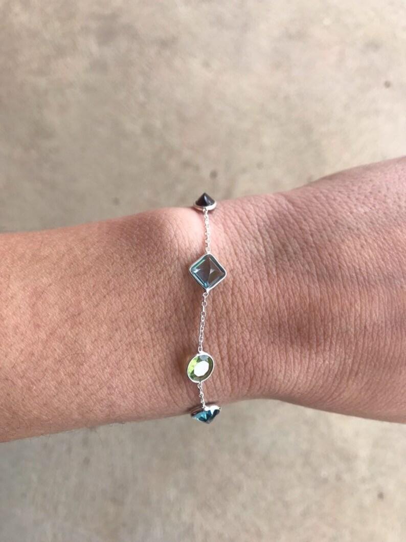 Gemstone Bracelet Minimalist Sale Topaz Bracelet Fine Jewelry Garnet Bracelet Elegant Bracelet Multistone Bracelet Faceted Bracelet