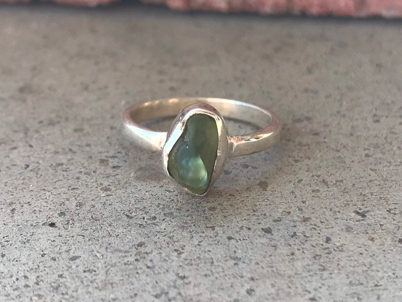 Green Peridot Ring Sale Handmade Silver Ring Raw Stone Ring Raw Peridot Ring Sterling Silver Ring Rough Stone Ring Size 7 Ring