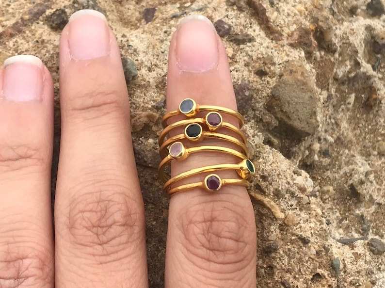 Birthstone \u2022 Mothers Day Gift for Mom Gemstone s DaintyThin Gold PlatedMinimalist s Rings for Women Stacking Gold Plated s