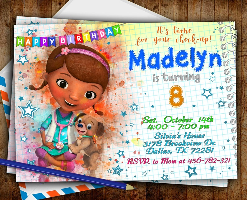 It is a picture of Doc Mcstuffins Printable Invitations with regard to blank editable
