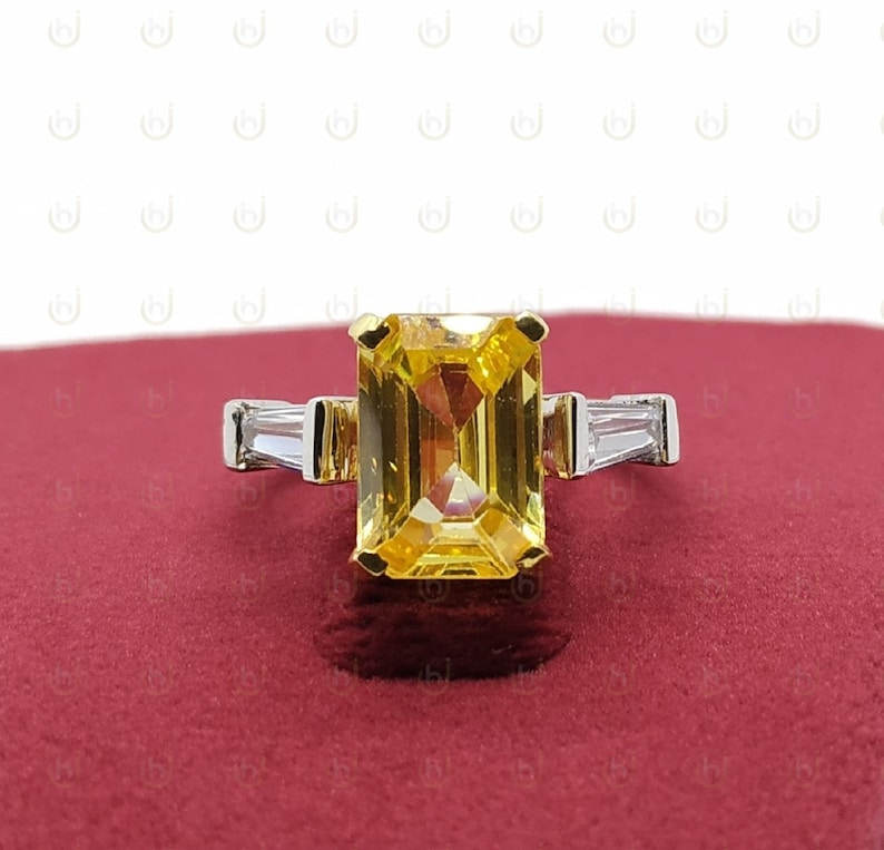 3.40 Ct Fancy Yellow Emerald Cut Diamond Simulants Engagement Wedding Ring In 925 Sterling Silver Three Stone Ring Bridal Ring