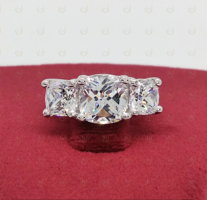 Wedding Ring For Womens 4.29 Ct Cushion Cut Diamond Simulants Engagement Ring 925 Sterling Silver Anniversary Ring Three Stone Ring
