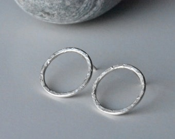 Handmade Contemporary Large Chequer Textured Circle Eco Silver Studs, Minimalist Recycled Hammered O-Shaped Earrings