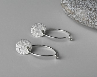 Handmade Contemporary Minimalist Cross Hatch Textured Eco Silver Coin Hoop Earrings, Recycled Hammered Disc Hoops