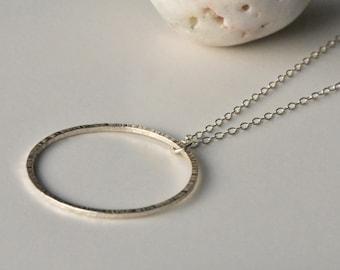 Handmade Minimalist Line Textured Eco Silver Circle Necklace