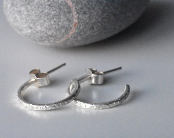 Handmade Contemporary Minimalist Textured Eco Silver Hoop Earrings, Recycled Hammered Hoops