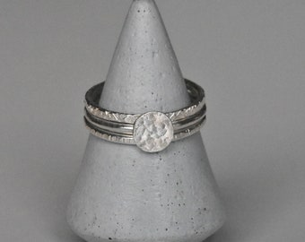 Handmade Textured Eco Silver Stacking Ring Set including Coin Ring, Contemporary Minimalist Rings