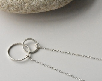 Handmade Contemporary Two Texture Eco Silver Entwined Circle Necklace, Minimalist Hammered Circles
