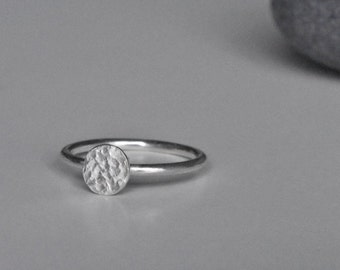 Handmade Chequer Textured Eco Silver Stacking Coin Ring, Hammered Disc Ring