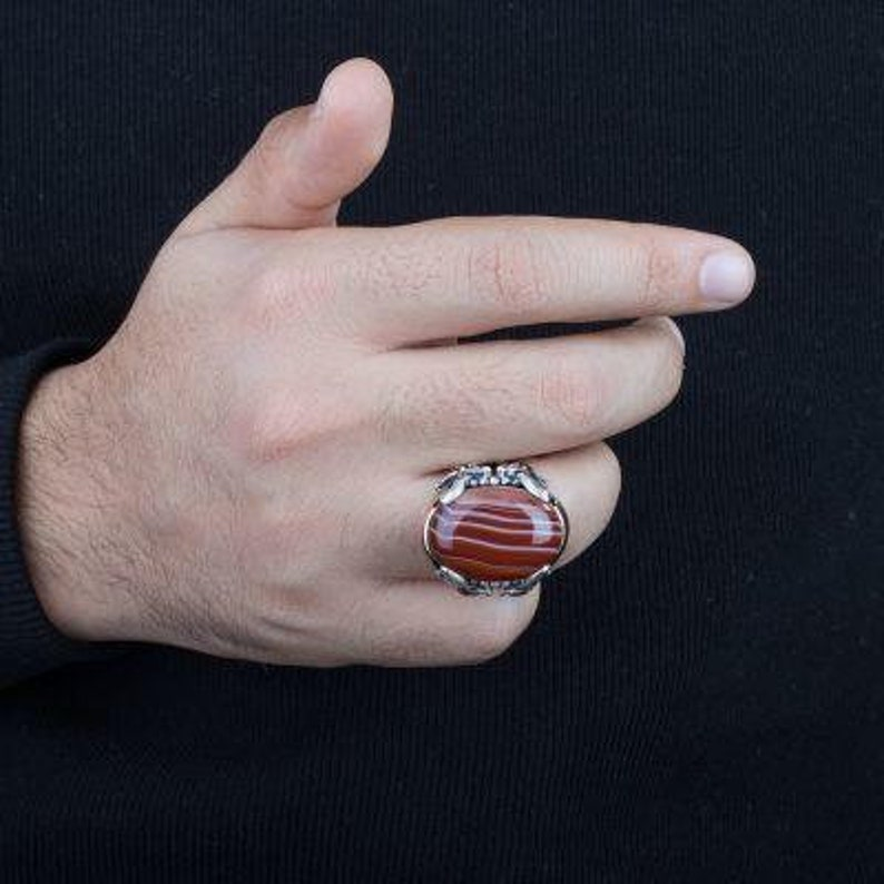 turkish jewelry silver,handmade jewelry,mens ring mens ring,red agate  rings,mens gift,father gift men jewelry
