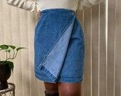 Vintage High Waist Blue Wash Denim Wrap Skirt