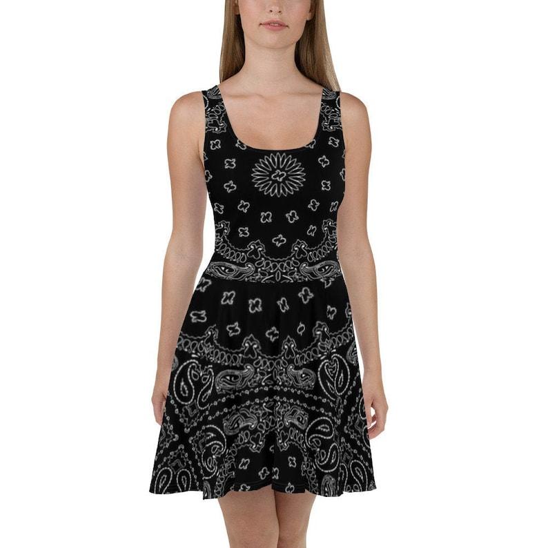 Black Bandana Skater Dress