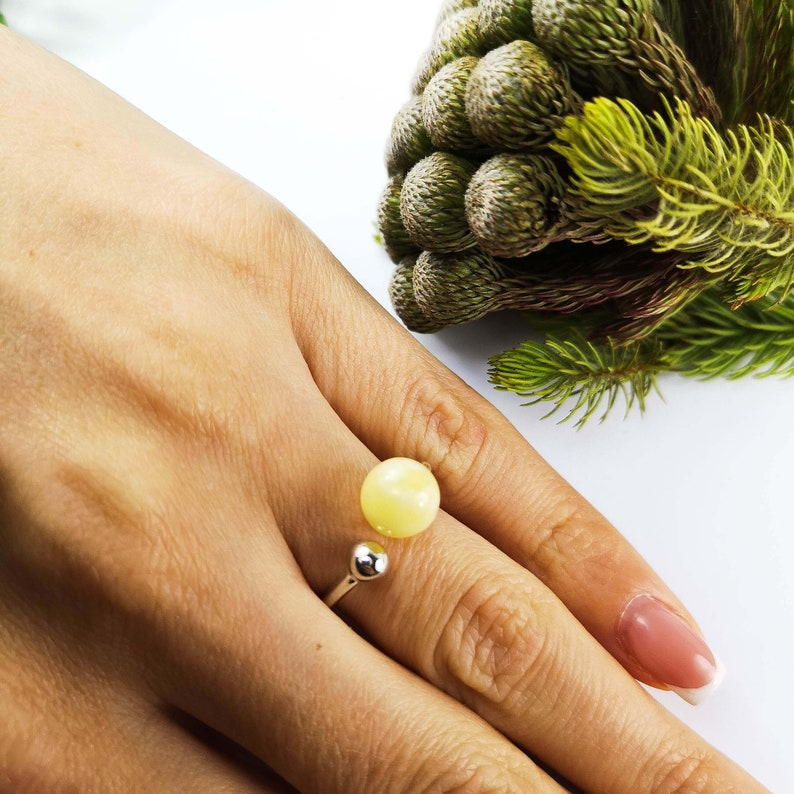 Baltic amber ring Unique gifts Jewelry gift rings for woman Amber engagement ring for woman Stone ring