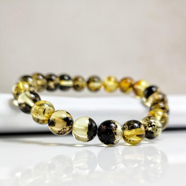 Amber charm bracelet Genuine Baltic amber bracelet Amber Bracelets for men Gift for Dad unique gift idea Bracelets for women
