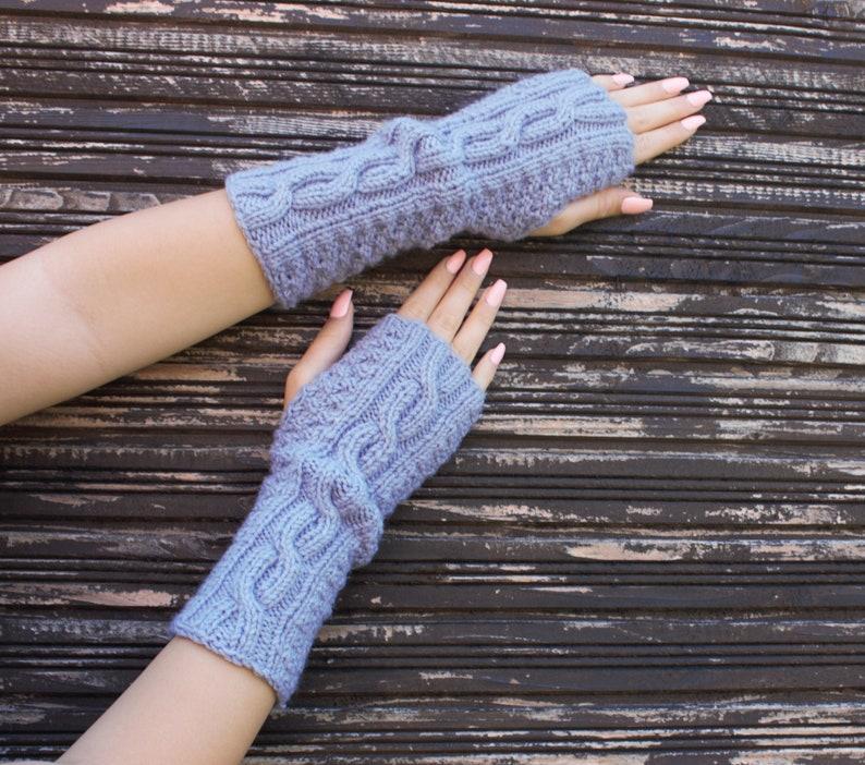 Gray Fingerless Gloves Soft Fingerless Mittens Womens Arm Warmers Hand Knit Gift