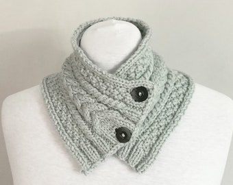 c574259d5f3e snood boutonné - grand col tricot - tricot écharpe en laine hiver - gris  bleu clair