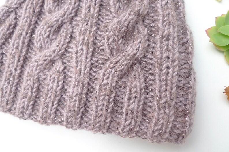 hand knitted Hat Irish Hat Hat pink purple violet glitter winter Hat
