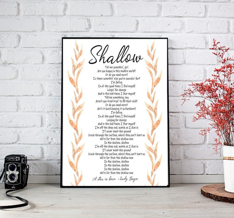 Shallow lyrics printable /A star is born lyrics poster/ Shallow lyrics  poster printable / Lady Gaga lyrics poster green