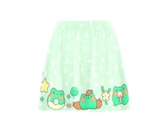 Frog Kawaii - Kawaii skirt - Fairy Kei - Kawaii froggy - Kawaii clothing - Yume kawaii - Pastel kawaii - Yume Kawaii skater green skirt