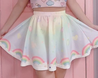 90s aesthetic POG skirt 1990s clothing sweet lolita size 2X upcycled bedsheet milk caps fairy kei plus size