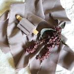 Mauve-- Crepe de Chine Silk Ribbon, Hand Dyed Silk Ribbon, Plant Based Dye, Naturally Dyed