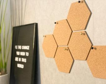 Honeycomb cork bulletin board (set of 5 hexagons)