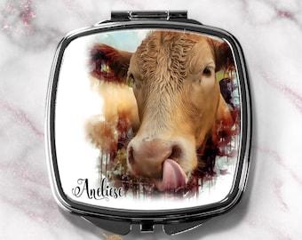 Cow Personalized Watercolor Compact Mirror-Compact Purse Mirror-Handbag Mirror-Not Today Heifer
