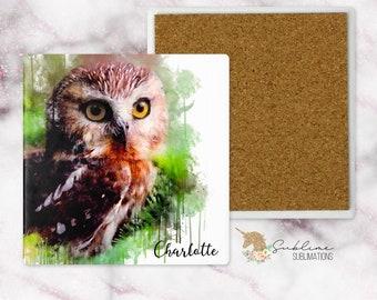 Owl Watercolor 4 Inch Sandstone Coaster-Religious Gift-Secret Sister Gift-Owl Gift-Gift for Mom-Gift For Sister-