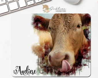 Cow Lick Personalized Watercolor Mousepad Gift-Office Gift-Secretary Gift-Not Today Heifer-Cow Gift-Cow Lover