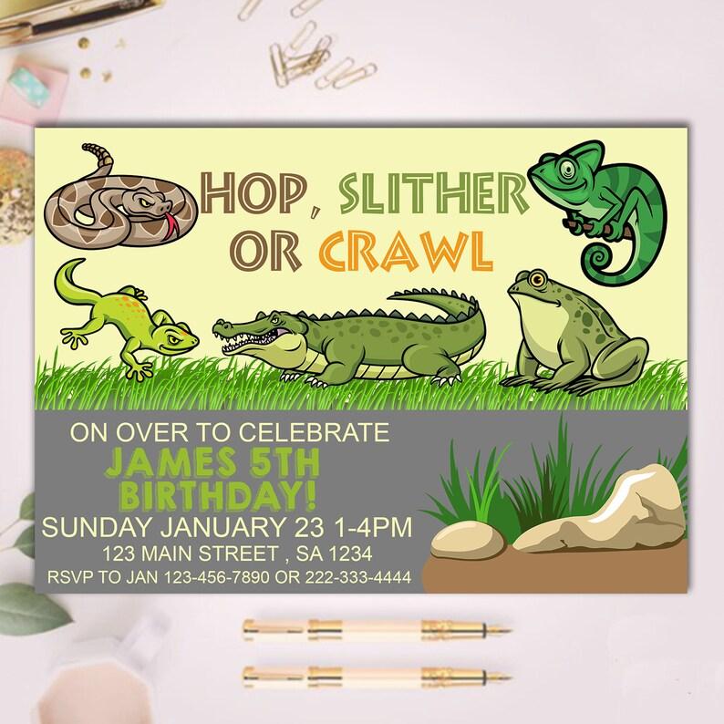 Reptile Invitation Lizard Invitation Reptile Birthday Etsy