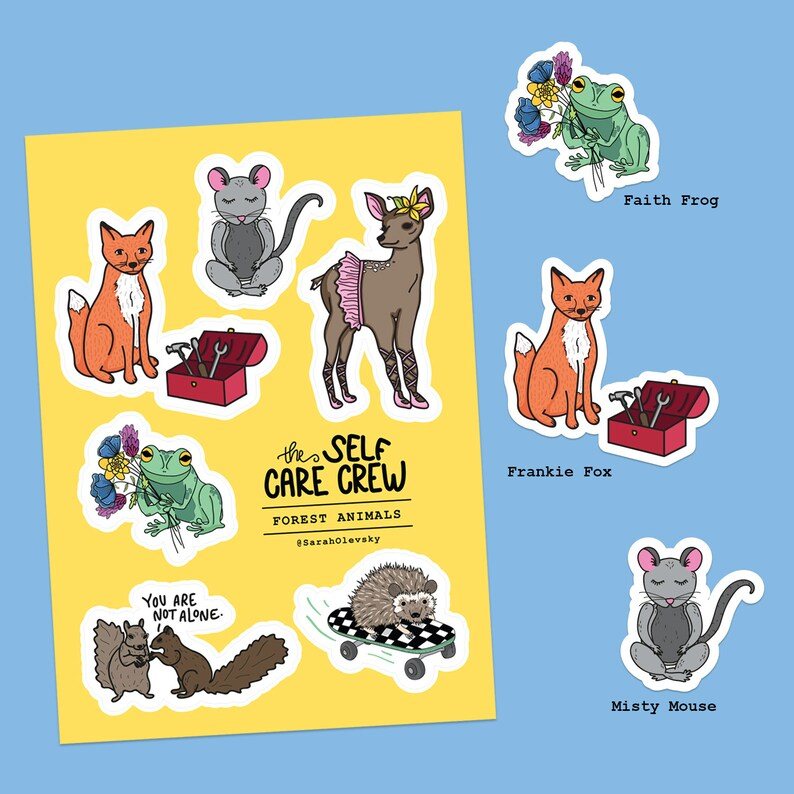 Self Care Crew Stickers Forest Animals for Bullet Journals image 0