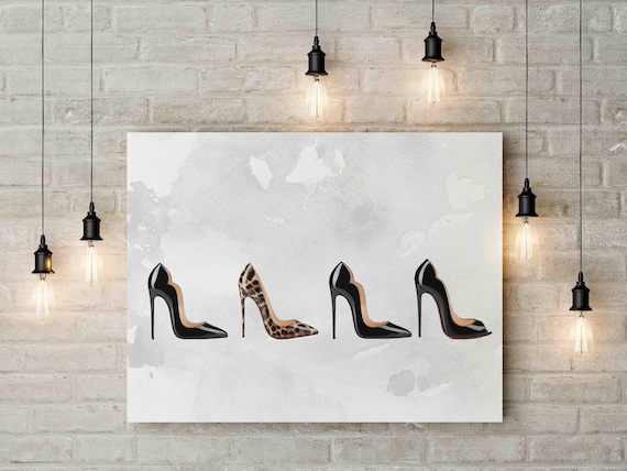 8c5ecbf6515 Louboutin print art red sole heel love shoes fashion wall