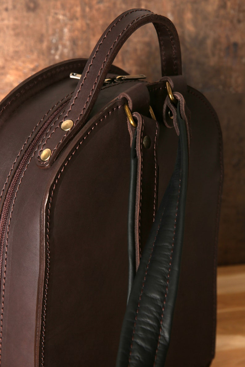 Handmade backpack Original design backpack Leather backpack Unisex A4 size Adjustable padded straps Thick leather Brown leather
