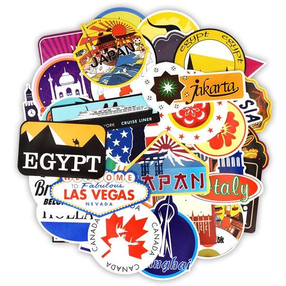 100 PCS Travel Graffiti Stickers Around the World Retro Building Sign Funny Deca